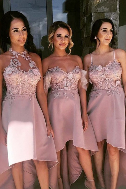 Pink Hi-Lo Appliques Bridesmaid Dresses | A-Line Sleeveless Maid of Honor