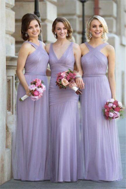 Tulle Halter-Neck Elegant Ruched Lavender Long Bridesmaid Dresses