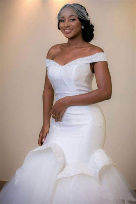 Tulle Mermaid White Glamorous Beads Sweep-Train Lace-up Off-the-shoulder Wedding Dress