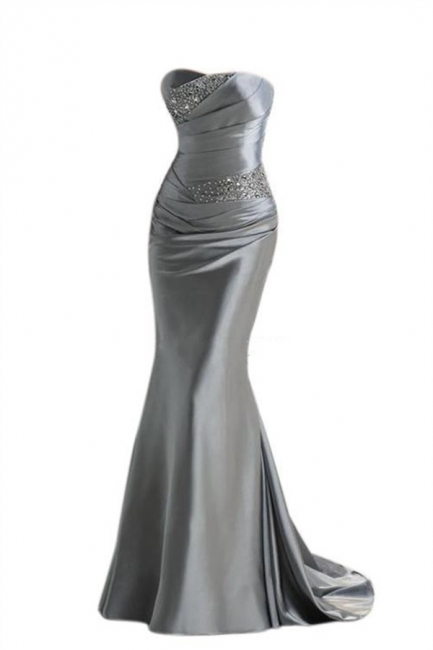 Silver Mermaid  Sexy Long Evening Dresses with Sparkly Sequins Long Train Cheap Bridesmaid Dresses LFC036