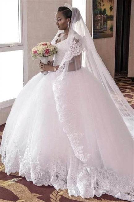 Lace-Appliques Ball-Gown Gorgeous Cap-Sleeve Long Tulle Wedding Dress