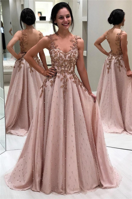Sexy A-Line Appliques Beaded Backless Prom Dress Straps Ruffles Formal Dresses with Pearls On Sale