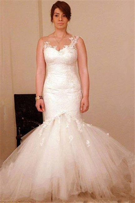 Classic Mermaid lace Appliques Wedding Dresses  Sheer Back Bridal Gowns