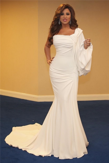 Affordable One-Shoulder Ruffles Mermaid Long Prom Dress One-Sleeve White Evening Dresses On Sale