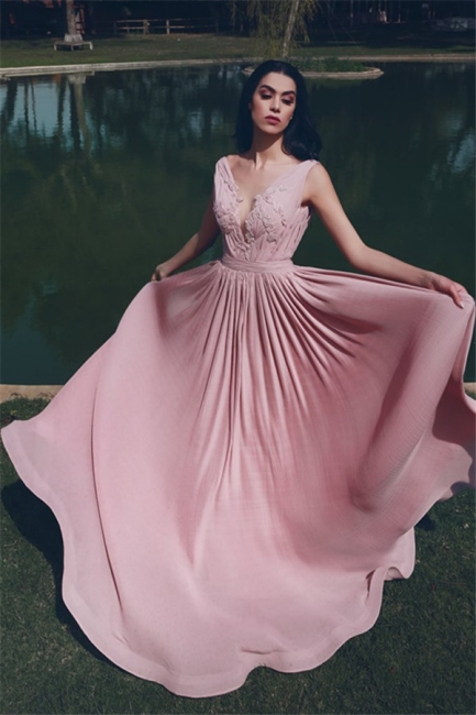 Modest V-Neck Ruffles Pink Prom Dress A-Line Sleeveless Appliques Party Dresses On Sale