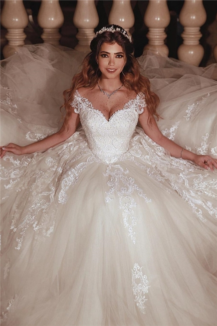 Glamorous Tulle Sweetheart Lace Cap-Sleeves Ball Gown Wedding Dress | Bridal Gowns On Sale