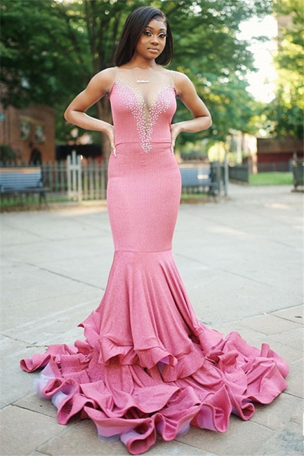 V-Neck Mermaid Beading Prom Dress Sleeveless Rhinestones Evening Gowns On sale