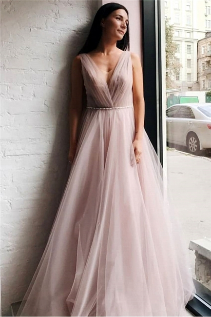 Chic Tulle V-Neck Beading Long Prom Dress Sleeveless Ruffles Formal Dresses Online