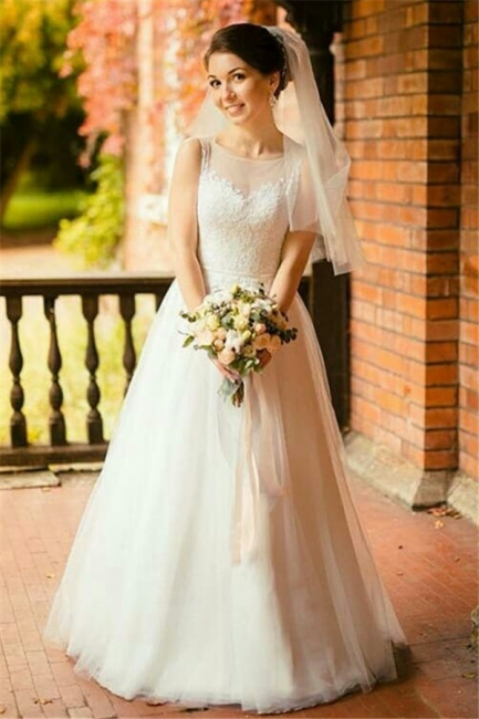 Gorgeous Jewel Sleeveless Tulle Lace Wedding Dress | Bridal Gowns On Sale