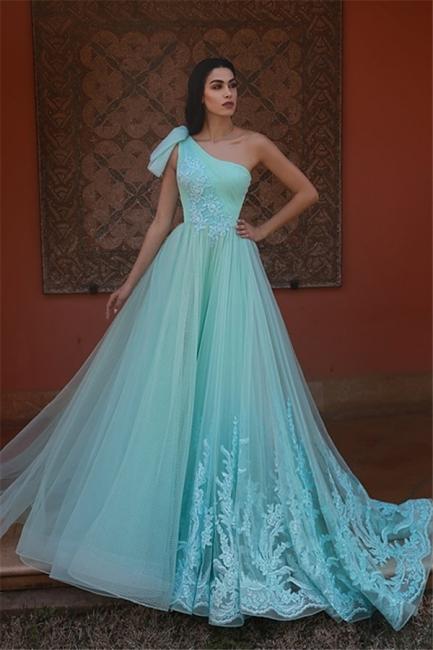 Elegant One-Shoulder Lace Long Prom Dress Tulle Ruffle Appliques Formal Dresses On Sale