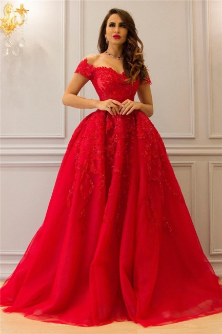 Exquisite Tulle Lace Off-the-Shoulder Prom Dress Sweetheart Appliques Ruffle Evening Dresses On Sale