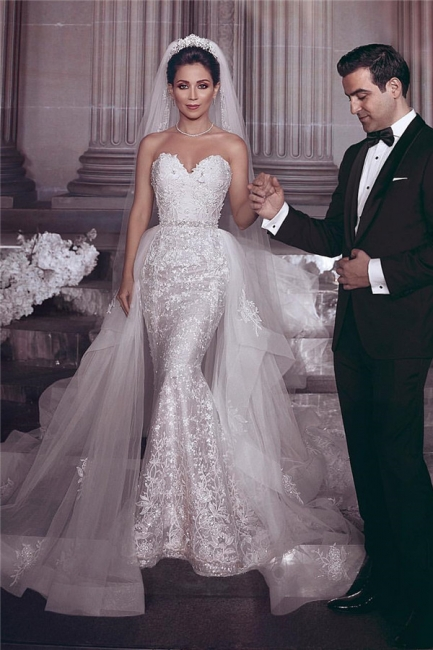 Chic Stylish Strapless Sweetheart Tulle Appliques Wedding Dress   Bridal Gowns On Sale