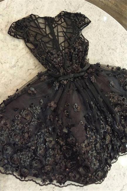 Fashion Cap Sleeves Beading Womens V-Neck A-Line Flower Online Prom Dress Sale | Suzhoudress UK