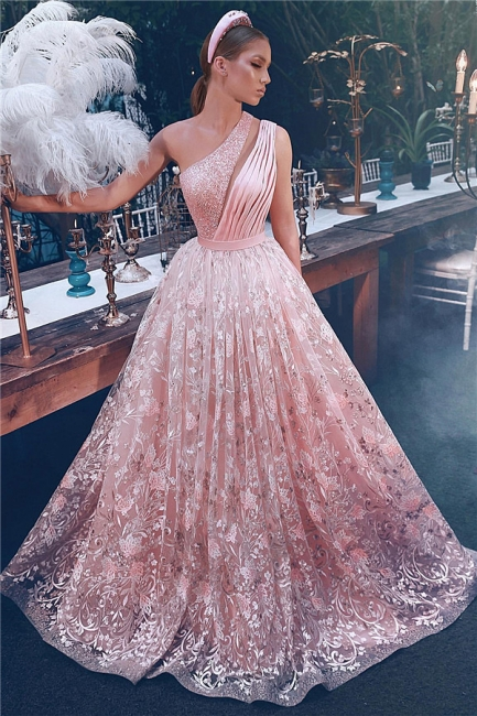 Stunning One-Shoulder Appliques Beading Prom Dress Fantancy Crystals Sleeveless Party Dresses On Sale