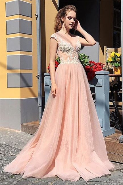 Gorgeous V-Neck Lace Ruffles Long Prom Dress Sleeveless Appliques Evening Dresses On Sale