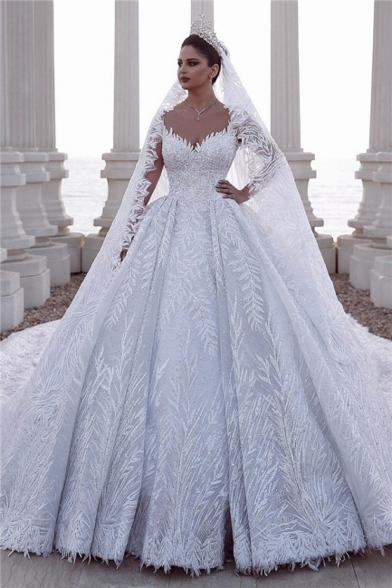 Alluring Straps Appliques Beading Wedding Dresses Sweetheart Long-Sleeves Bridal Gowns with Rhinestones