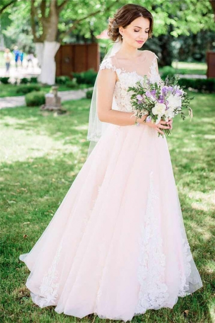 Unique Tulle Sleeveless Lace Appliques Wedding Dress   Bridal Gowns On Sale