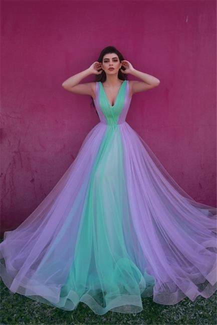 Glamorous Tulle V-Neck Straps Prom Dress Sleeveless Ruffles Party Dresses On Sale