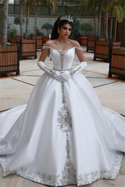 Elegant Ball Gown Off-the-Shoulder Appliques Wedding Dress | Bridal Gowns On Sale