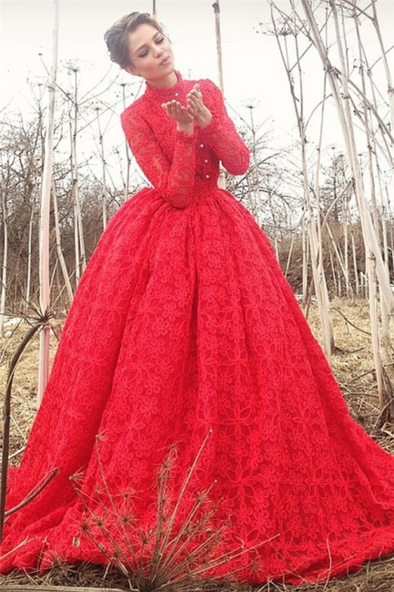Gorgeous High-Neck Lace Red Prom Dress Long Sleeves Appliques Formal Dresses On Sale