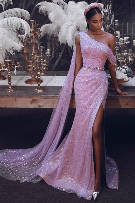 Sexy One-Shoulder Slit Ruffles Prom Dress Sparkly Pink Sequins Party Dresses with Sash On Sale