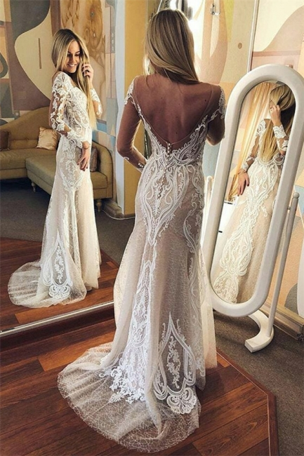 Chic Long-Sleeves Tulle Open Back lace Wedding Dresses | Bridal Gowns On Sale