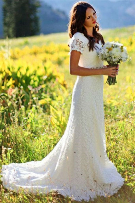 Stylish Short-Sleeves Sheath Lace Appliques Wedding Dress | Bridal Gowns On Sale