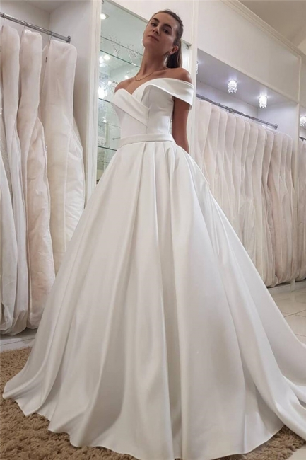 Stylish Off-the-Shoulder Sweetheart Ruffles Long Wedding Dress | Bridal Gowns On Sale