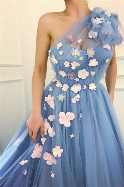 Chic Tulle One-Shoulder Long Prom Dress Sleeveless Ruffles Evening Dresses with Flowers