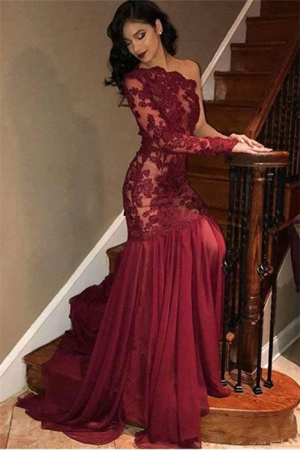 Stunning Tulle Lace One-Shoulder Burgundy Prom Dress Sexy One Sleeve See-Through Ruffles Party Dresses
