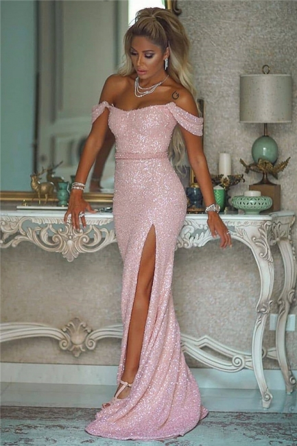 Exquisite Off-the-Shoulder Front-Slit Prom Dress Sparkly Sequined Long Party Dresses On Sale