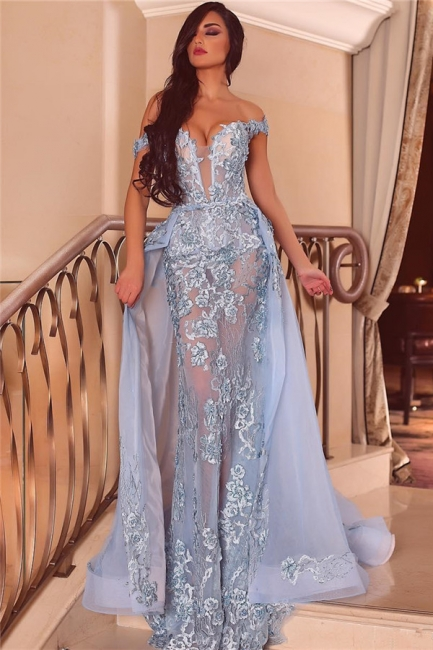 Chic Tulle Off-the-Shoulder Appliques Prom Dress Sexy Deep-V-Neck See-Through Evening Dresses