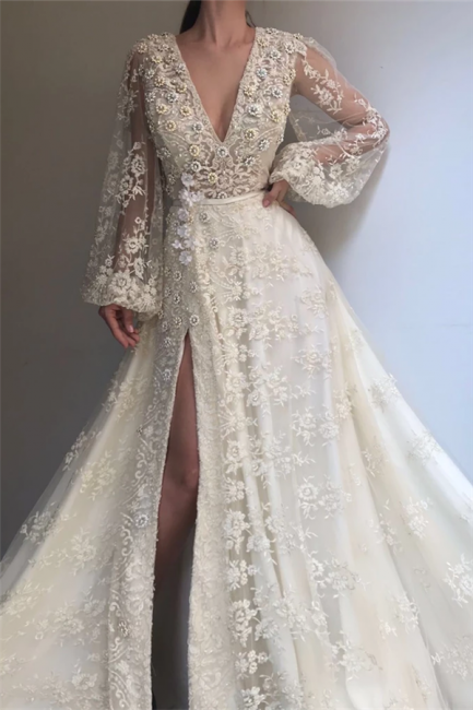 Chic Tulle V-Neck Lace Beading Prom Dress Long Sleeves Rhinestones Slit Formal Dresses On Sale