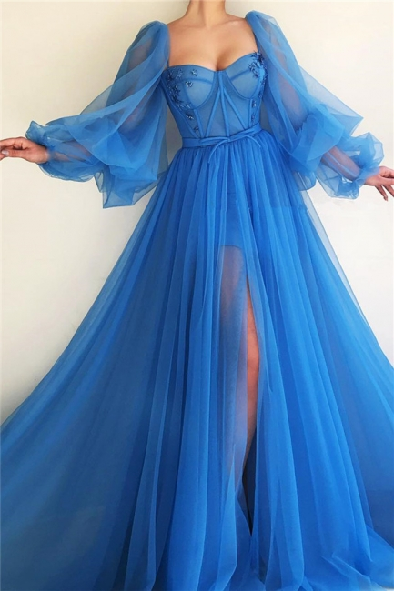 Sexy Long Sleeves Sweetheart Front Slit Prom Dress See Through Bodice Blue Party Dresses Online