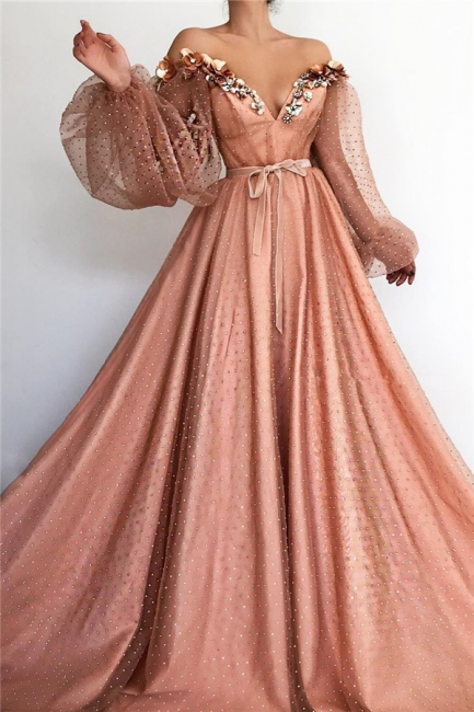 Gorgeous Tulle Beading V-Neck Long Prom Dress Off-the-Shoulder Long Sleeves Evening Dresses On Sale