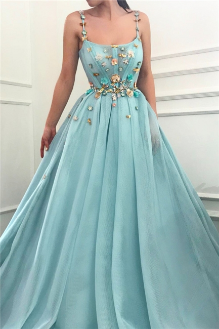 Simple A-Line Spaghetti Straps Ruffles Prom Dress Sleeveless Beading Formal Party Dresses with Flowers