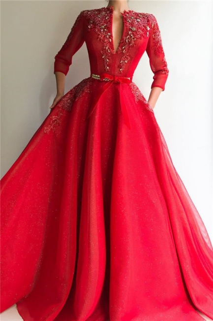 Exquisite Sequins Tulle V-Neck 3/4 Sleeves Prom Dress Jewel Appliques Long Red Formal Party Dresses Online