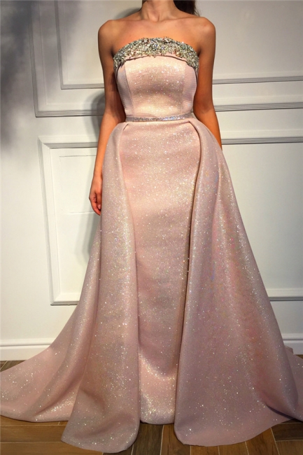 Stunning Strapless Ruffles Pink Sequins Prom Dress Sleeveless Beading Long Evening Dresses On Sale