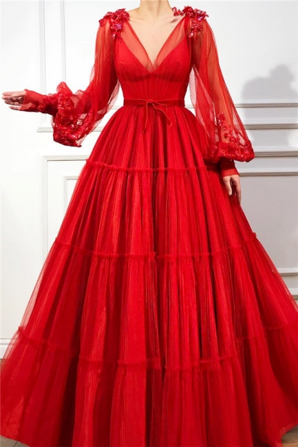 Fantastic Tulle V-Neck Lace Red Prom Dress Long Sleeves Appliques Beading Long Party Dresses Online