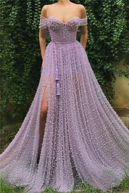 Fantastic Tulle Off-the-Shoulder Pink Prom Dress Sweetheart Front Slit Party Dresses with Pearls