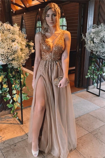 Exquisite Deep V-Neck Beading Ruffles Prom Dress Sleeveless Front Slit Long Formal Dresses On Sale