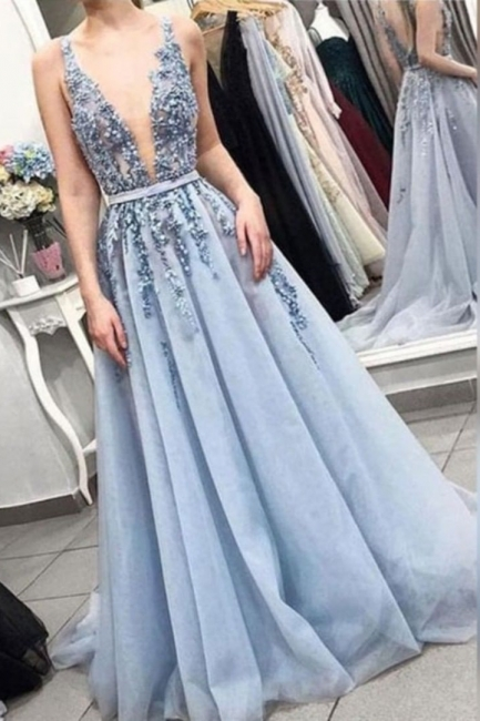 Exquisite Straps Deep V-Neck Ruffles Prom Dress Lace Beading Blue Formal Party Dresses On Sale