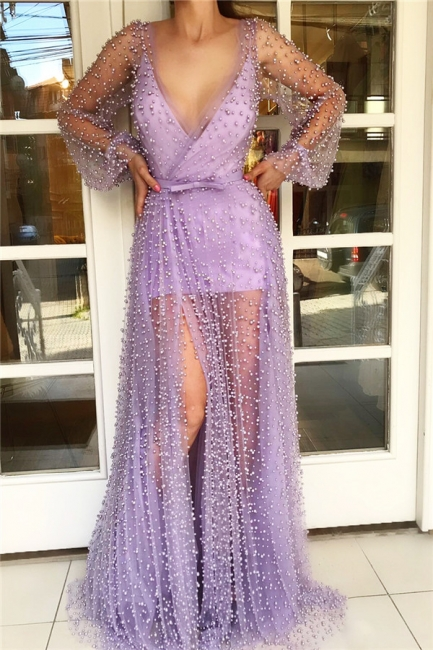 Simple V-Neck Long Sleeves Tulle Pink Long Prom Dress Sexy See Through Skirt Formal Dresses with Pearls