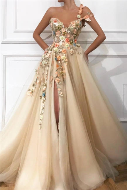 One-Shoulder Strap Sweetheart Prom Dress Tulle Front Slit Appliques Party Dresses with Flowers