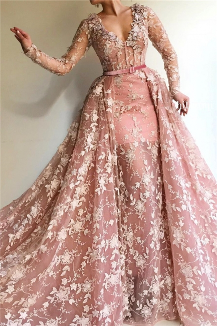 Fantastic Mermaid Tulle V-Neck Pink Prom Dress See Through Long Sleeves Party Dresses with Appliques