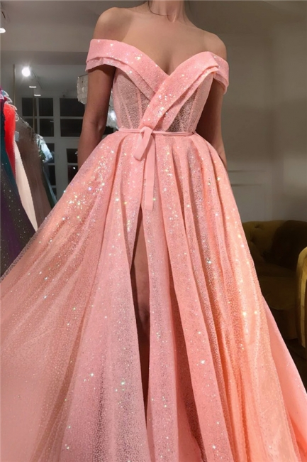 Glamorous Off-the-Shoulder Sleeveless Prom Dress Sequins Sweetheart Front Slit Party Dresses On Sale