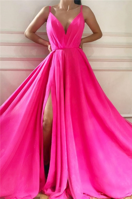 V-Neck Spaghetti Straps Ruffles Prom Dress Sexy Sleeveless Front Slit Pink Party Dresses On Sale