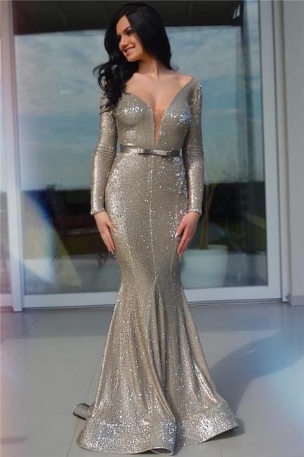 Modest Off-the-Shoulder Deep V-Neck Prom Dress Sparkly Sequins Long Sleeves Formal Dresses with Sash