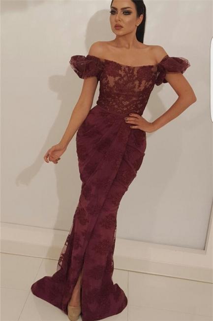 Elegant Off-the-Shoulder Lace Prom Dress Mermaid Appliques Front Slit Evening Dresses