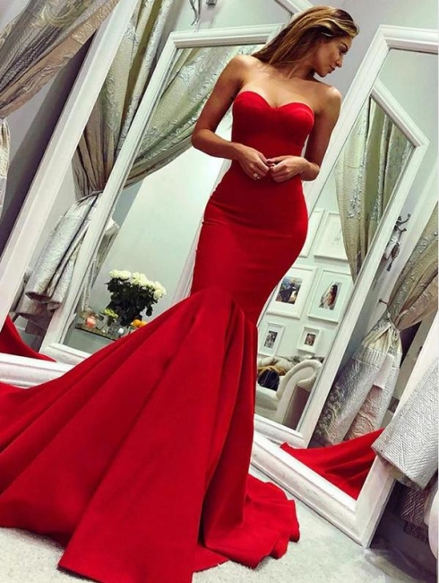 Strapless Sweetheart Red Prom Dress Mermaid Sleeveless Evening Dresses On Sale